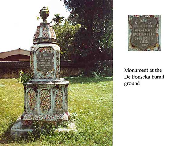 Monument at De Fonseka burial grounds