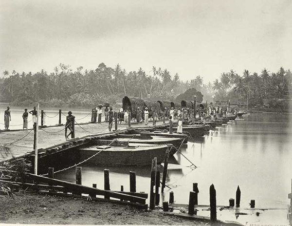 'Bridge of Boats' at Nakalagam. From the book 'Regeneration', a book of Early Ceylon Prints, publish