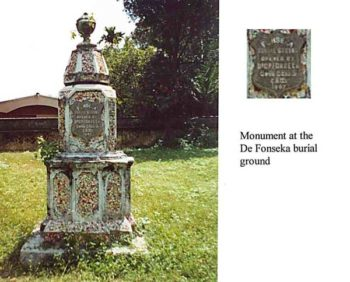 Monument at De Fonseka burial grounds