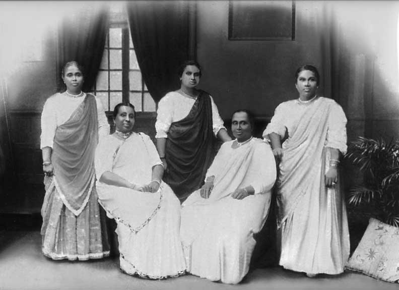 This picture shows the five daughters of Mudaliyar Sri Chandrasekera. They are from L to R, Leonora (Married Dr. C P de Fonseka), Catherine (wife of Dr W A de Silva), Jane (wife of Dannister Perera Abeywardena of Closenberg ), Isabella (wife of John Jacob Cooray) and Cecilia (wife of Cornelis Perera). Photograph and details by Rohan P. Fernando (UK)