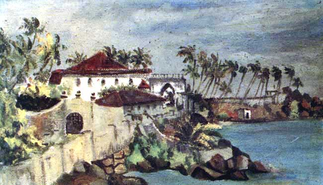 A watercolor of the Closenberg Bay and House in the possession of the Perera Abeywardena family and reproduced in the book 'A Family Memoir'.