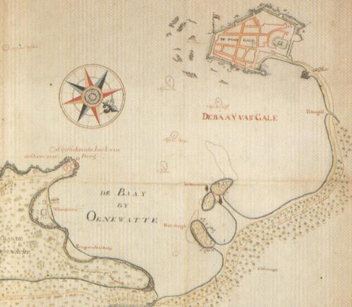 An old Dutch map of the Galle Bay. The mushroom shaped promontory found at the bottom of the bay is the Gibbet Island and next to it is the Closenberg Island.