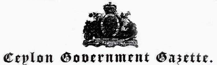 The Ceylon Government Gazette – De Fonseka