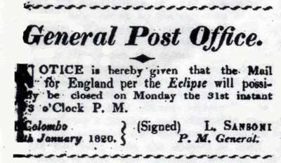 Early Postal Notice: