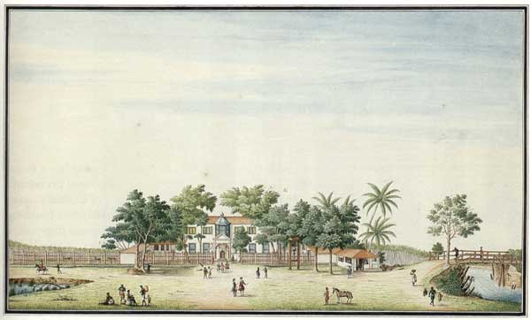 The 'Buitenhuis' or the Governor's Country house - An early Dutch print. The house was situated down Nagalagam Street, from which Mahawatta Road branched off.