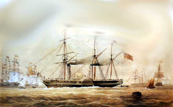 Hindustan : The Hindustan leaving Southampton on her maiden voyage on 24th September 1842. It was with the maiden voyage of the Hindustan that P&O started an active agency in Galle.