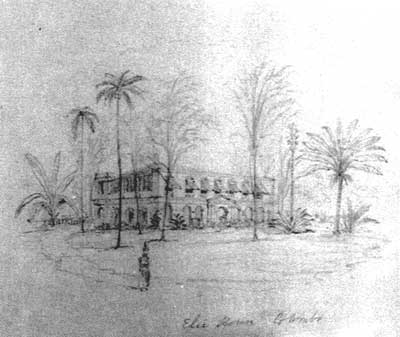 A drawing made by Andrew Nicholl in 1848 of the adjoining bungalow Ellie House.