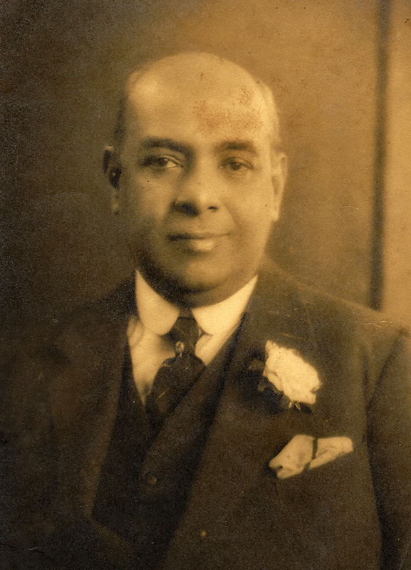 """Edmund Clarke de Fonseka Portrait taken around 1926 while on a visit to England. This and the following two photographs have been taken by photographers, """"DOUGLAS"""", 46, St. James's Place, S.W.1. The telephone no is given as GERRARD 3987"""